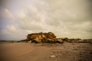Ancient rock dividing Broome Jetty Beach and the short boat ramp