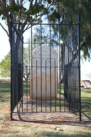 Matthew Forrest grave overlooking Reobuck Bay at Pioneer Park, Town Beach